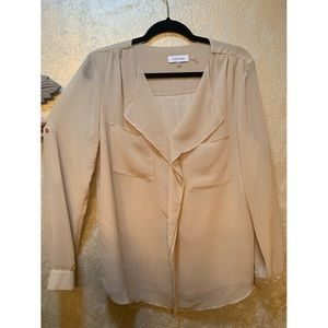 Calvin Klein beige button down blouse!
